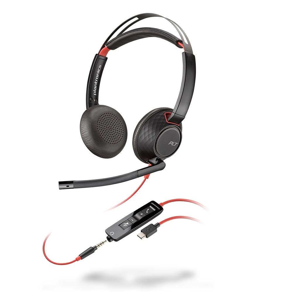 USB Headset binaural, Plantronics Headset, UC Headset, Office Headset, Callcenter Headset, VoIP Headset, 2 ohriges Softphone Headset